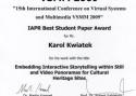 Nagroda za najlepszy artykuł studencki - konferencja VSMM2009 w Wiedniu, Austria