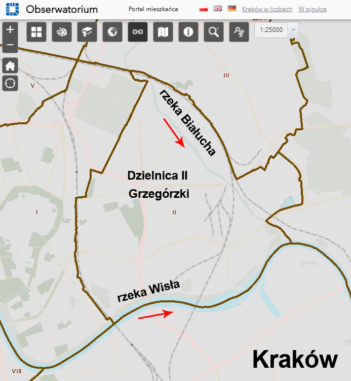 Położenie rzeki Białuchy w Krakowie