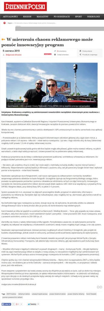 artykuł w Dzienniku Polskim (5.06.2015)