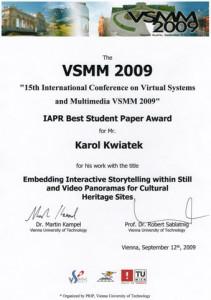Best Student Paper Award VSMM2009